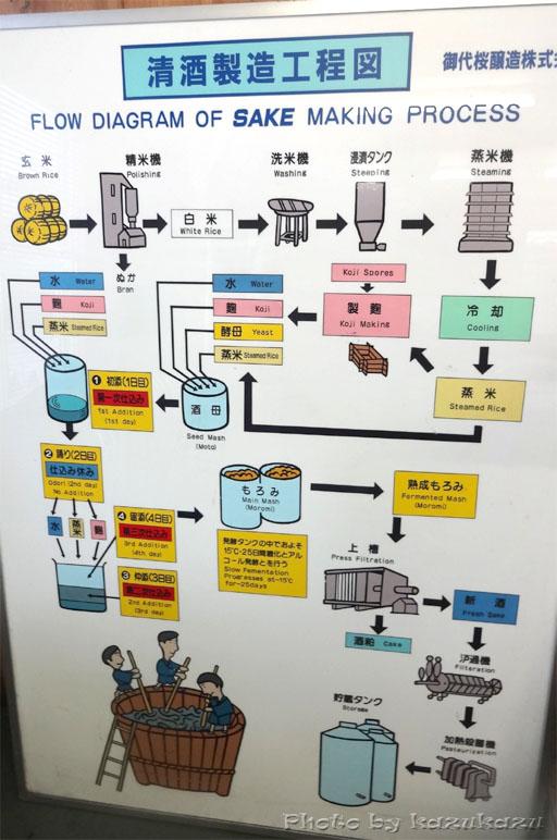 岐阜県美濃加茂市太田本町の御代桜醸造の清酒製造工程図