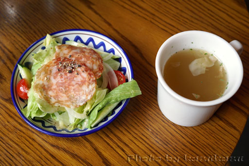 東京都中央区銀座にかまえるつばめやのランチサラダとスープ